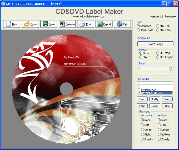 Click to view CD&DVD Label Maker 1.2 screenshot